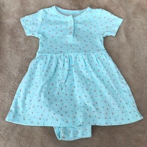 4/$20 Carters 9M Teal and Coral Cotton Dress